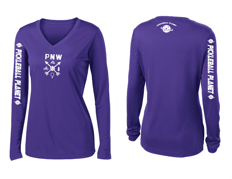 Ladies Long Sleeve Purple V Neck PNW