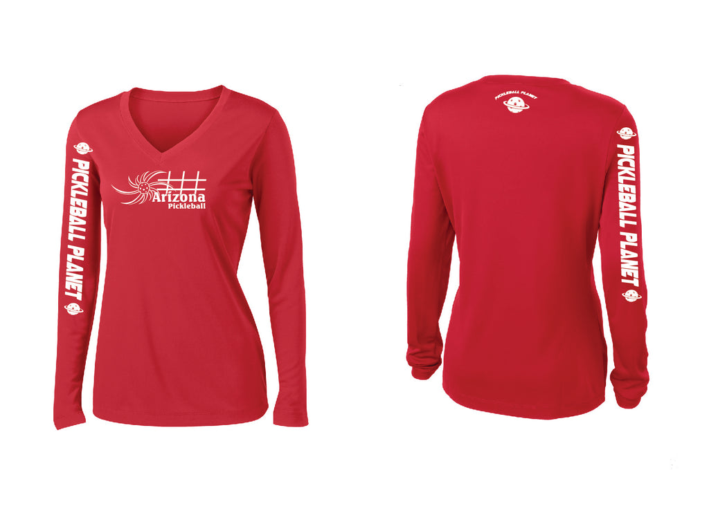 Ladies Long Sleeve V Neck Red Arizona Sun