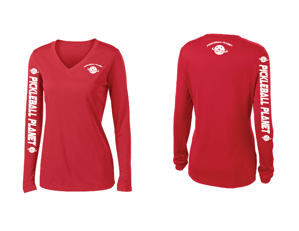 Ladies Long Sleeve Red Pickleball Planet