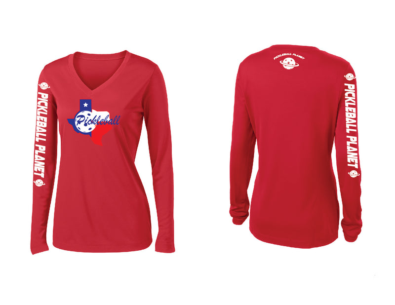 Ladies Long Sleeve Red V Neck Texas State