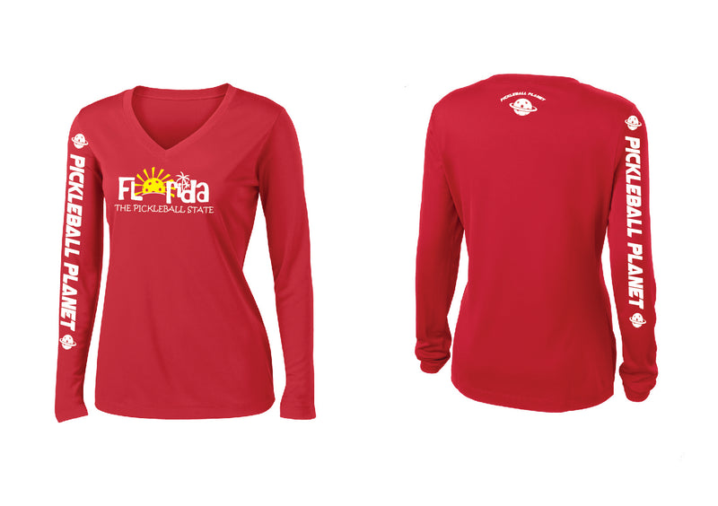 Ladies Long Sleeve V Neck Red Florida
