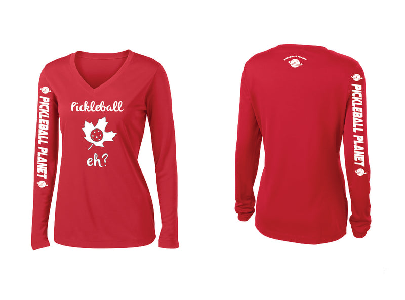 Ladies Long Sleeve Red Pickleball Eh
