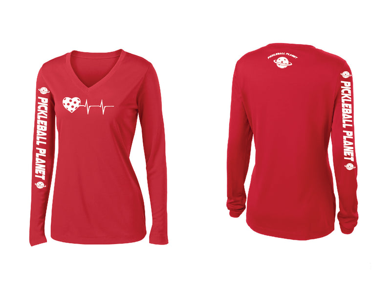 Ladies Long Sleeve Red V Neck Heartbeat