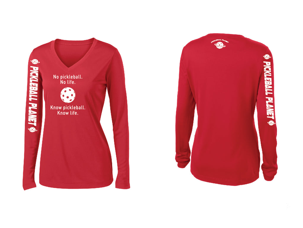 Ladies Long Sleeve V Neck Red Know Pickleball