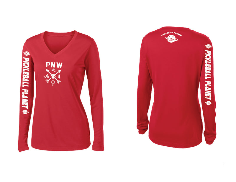 Ladies Long Sleeve Red V Neck PNW