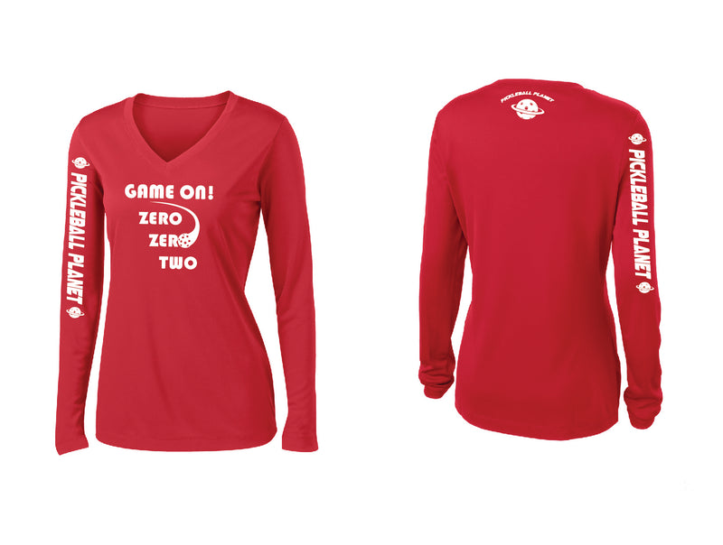 Ladies Long Sleeve Red V Neck Game On