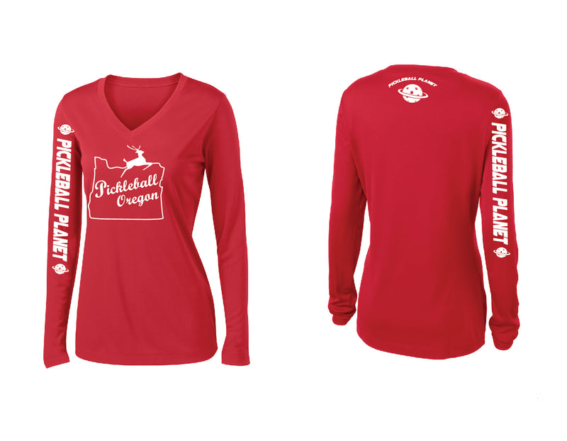 Ladies Long Sleeve Red V Neck Pickleball Oregon