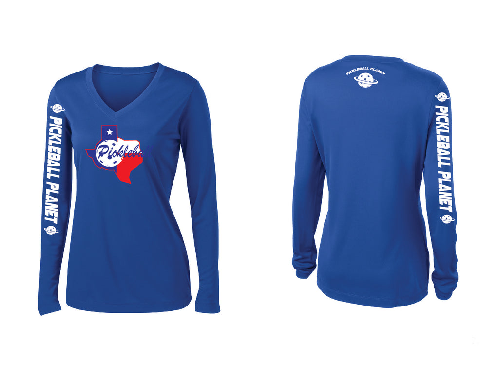 Ladies Long Sleeve Royal Blue V Neck Texas State