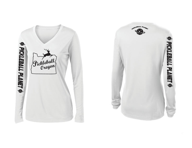 Ladies Long Sleeve White V Neck Pickleball Oregon