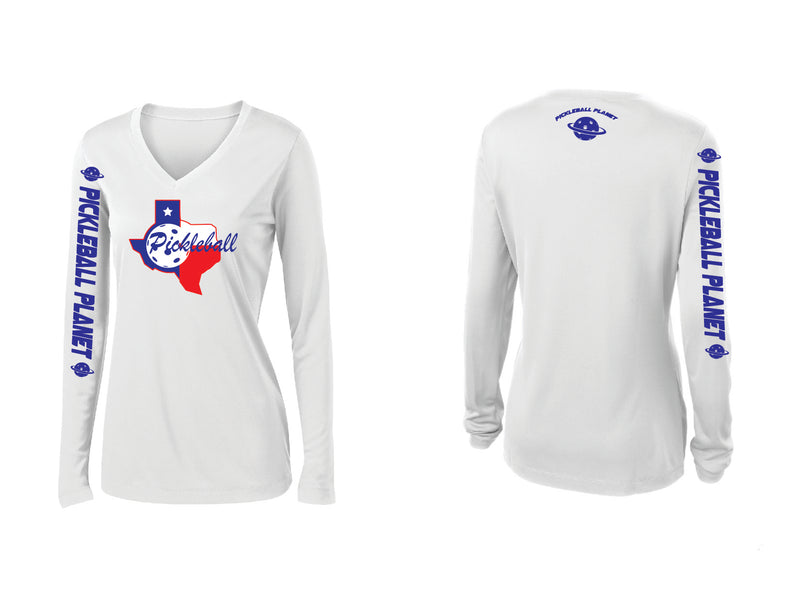 Ladies Long Sleeve White V Neck Texas State