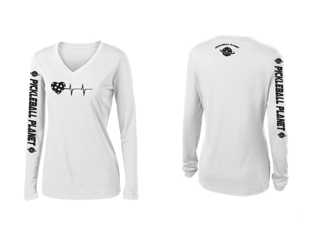 Ladies Long Sleeve White V Neck Heartbeat