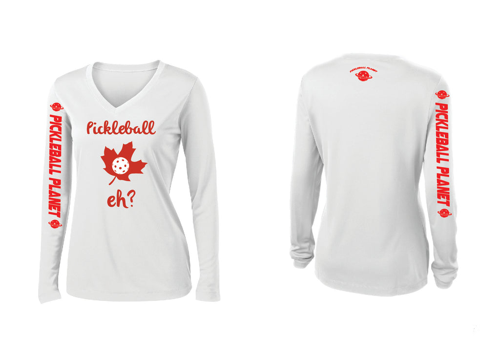 Ladies Long Sleeve White Pickleball Eh