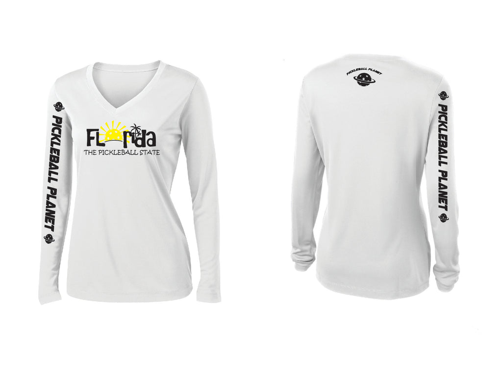 Ladies Long Sleeve V Neck White Florida