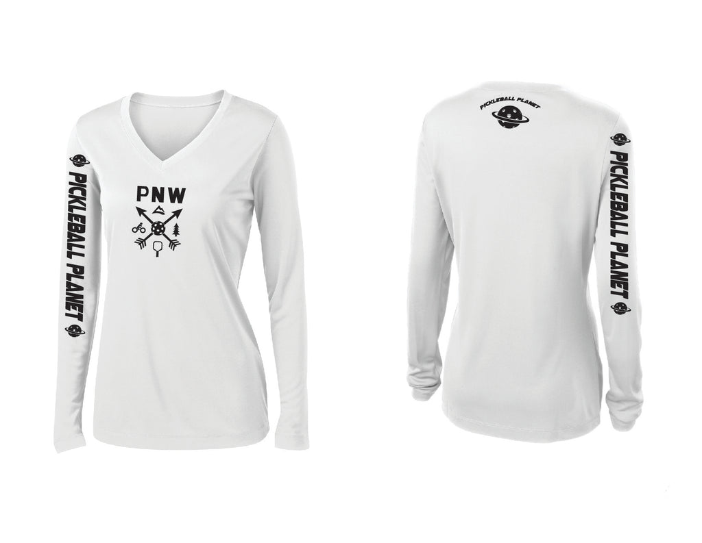 Ladies Long Sleeve White V Neck PNW