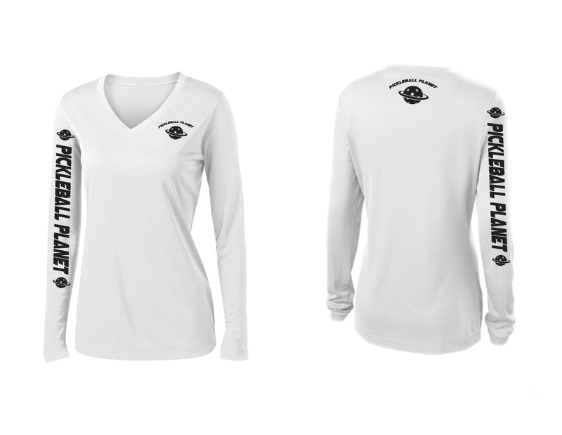 Ladies Long Sleeve White Pickleball Planet