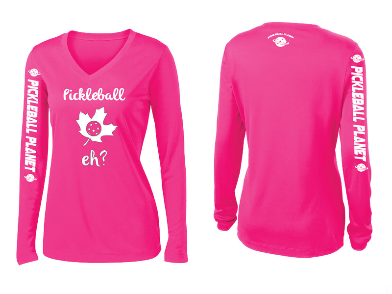 Ladies Long Sleeve Neon Pink Pickleball Eh