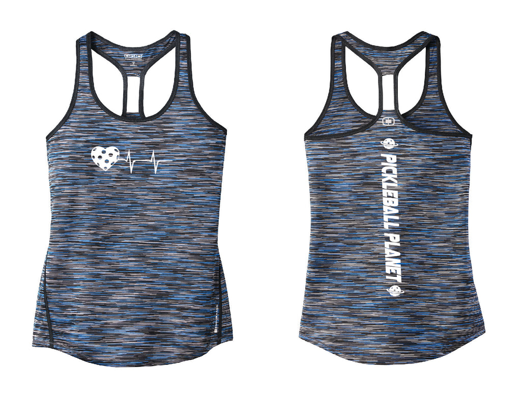 Ladies OGIO Racerback Tank Blue Heartbeat