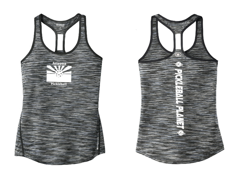 Ladies OGIO Racerback Tank Blacktop Gray Arizona Flag