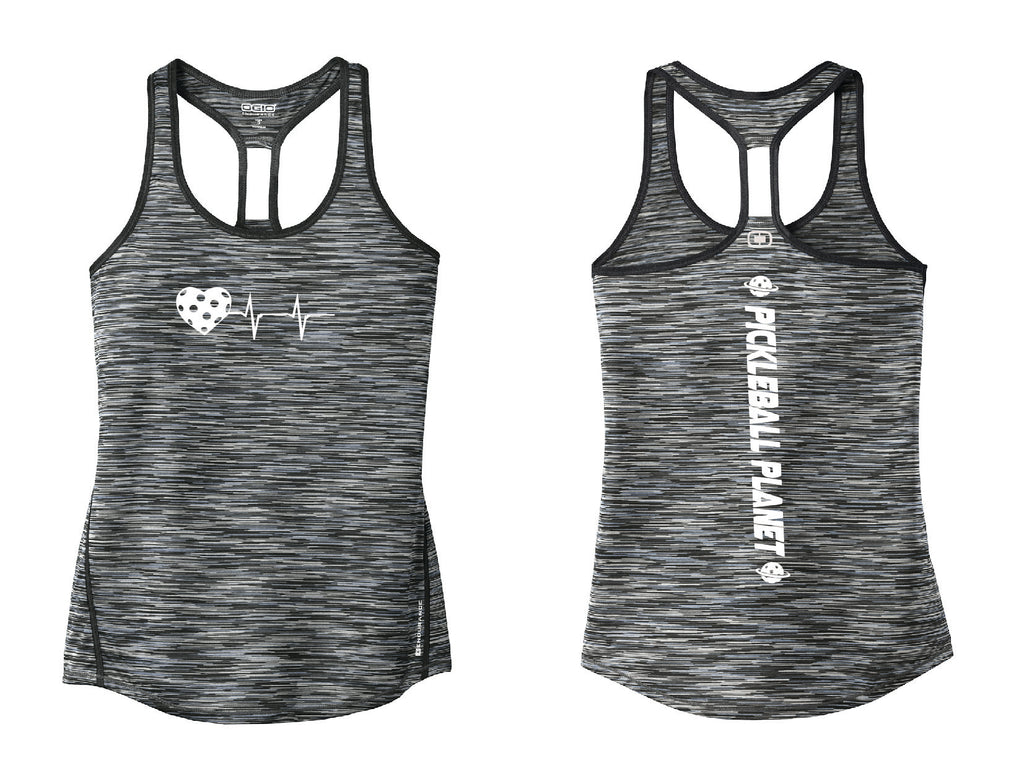 Ladies OGIO Racerback Tank Gray Heartbeat