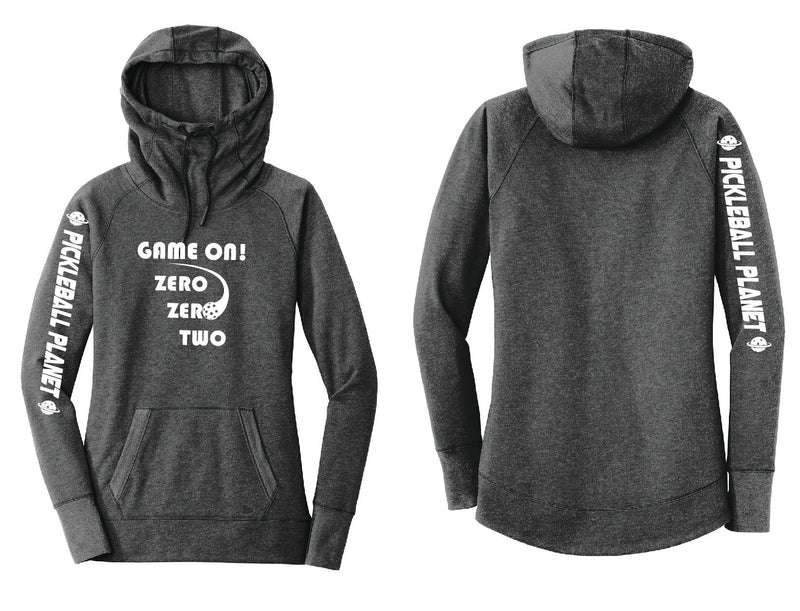 Ladies Pullover Hoodie Black Heather Game On