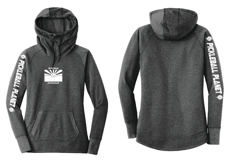 Ladies Pullover Hoodie Black Heather Arizona Flag