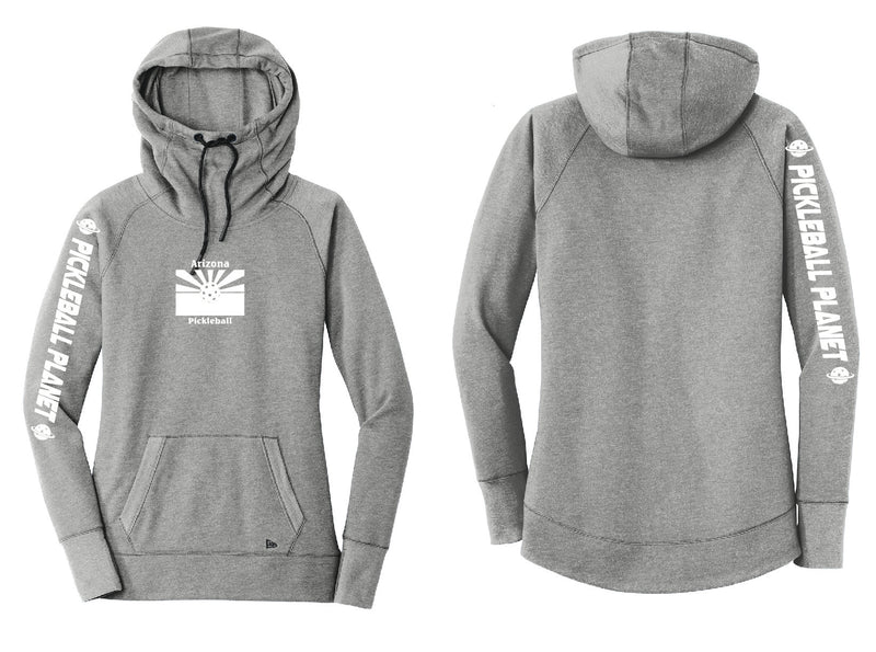 Ladies Pullover Hoodie Shadow Gray Heather Arizona Flag