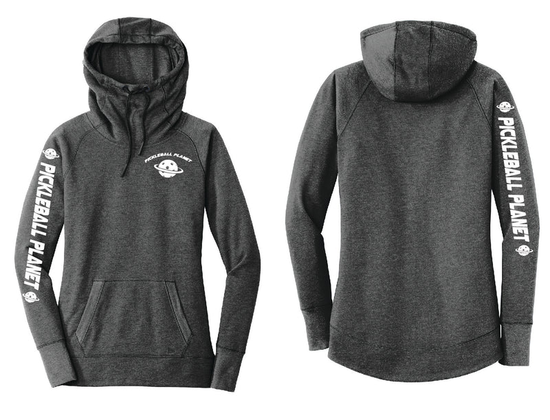 Ladies Pullover Hoodie Black Heather Pickleball Planet