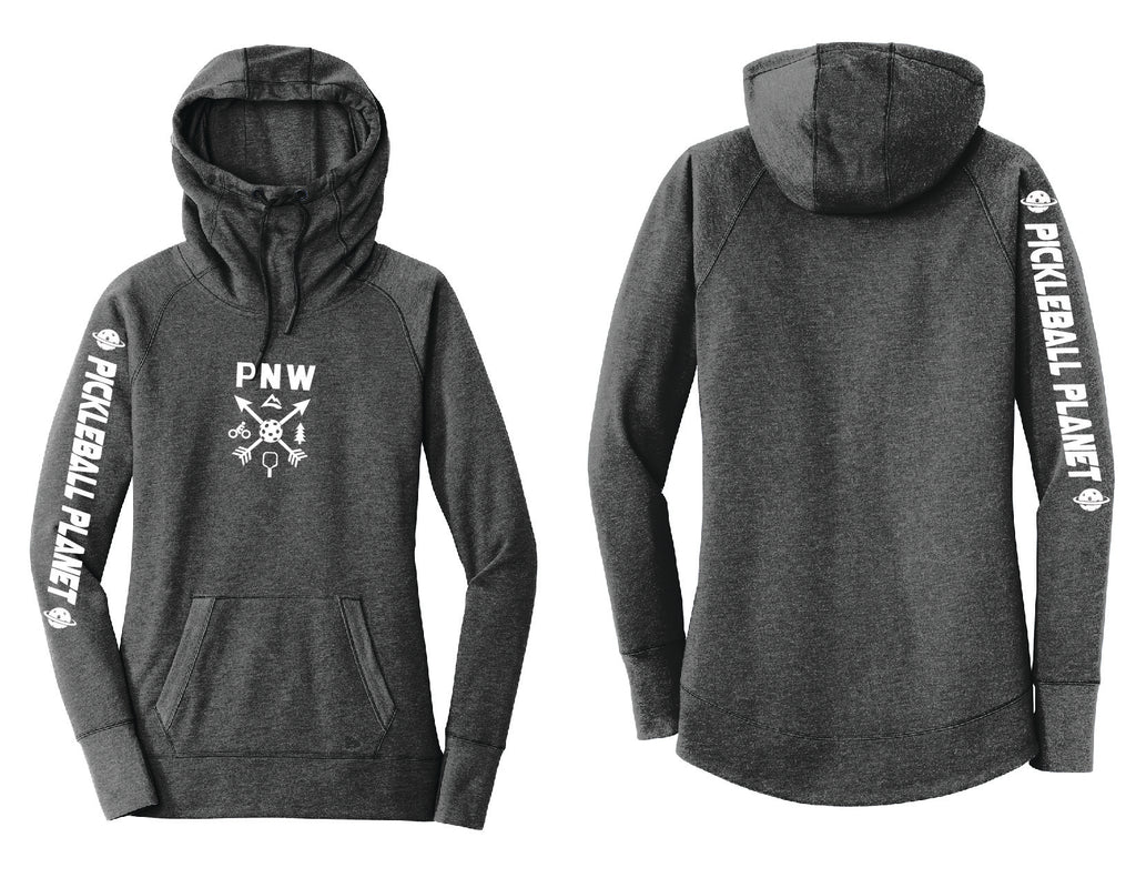 Ladies Pullover Hoodie Black Heather PNW
