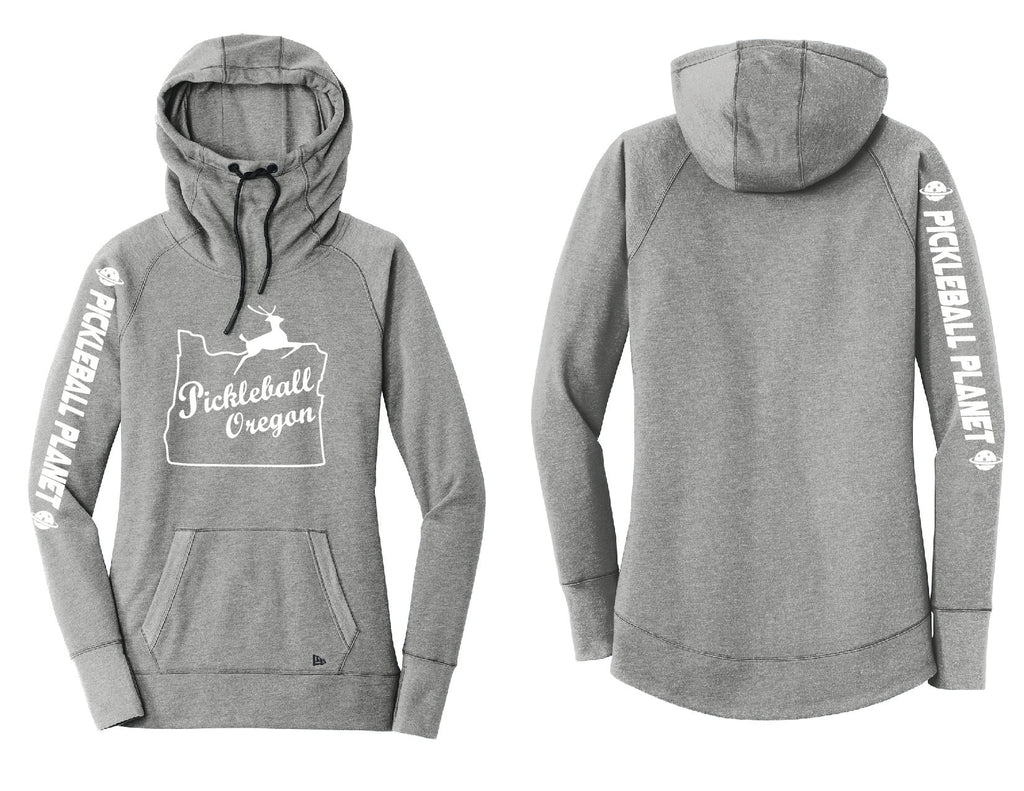 Ladies Pullover Hoodie Shadow Gray Heather Pickleball Oregon