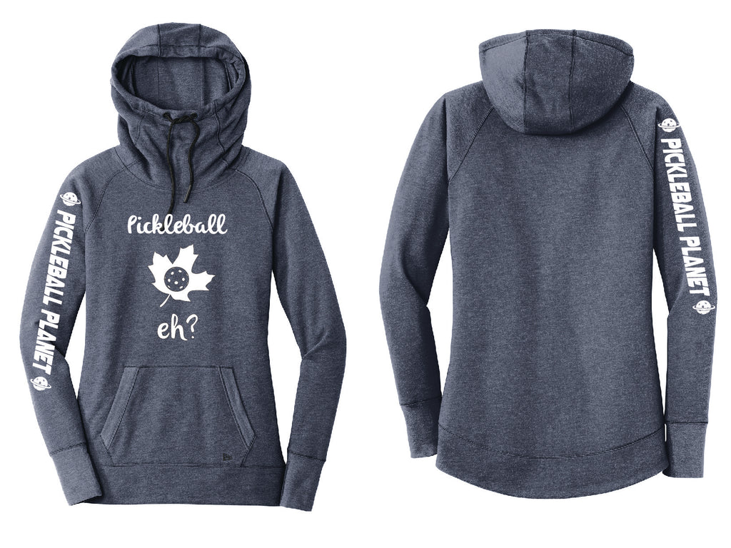 Ladies Pullover Hoodie Navy Blue Heather Pickleball Eh