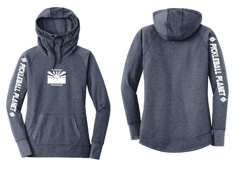 Ladies Pullover Hoodie Navy Blue Heather Arizona Flag