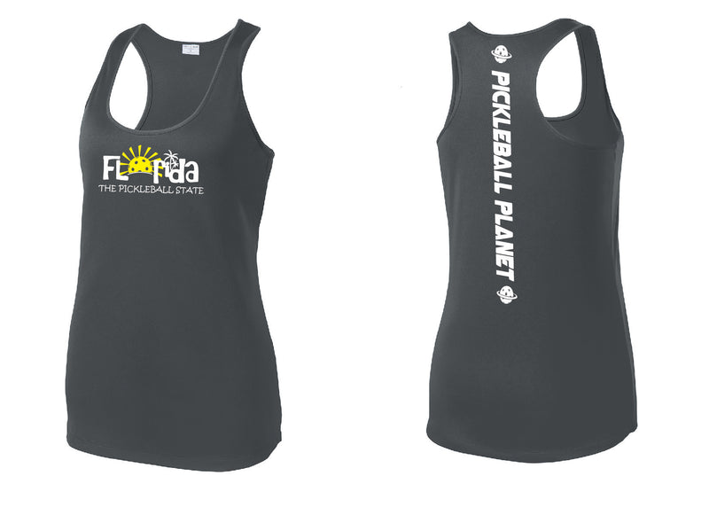 Ladies Racerback Tank Iron Gray Florida
