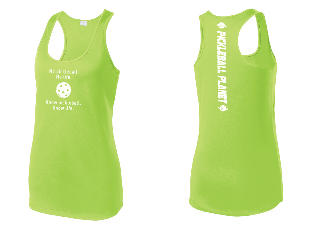 Ladies Racerback Tank Lime Shock Green Know Pickleball