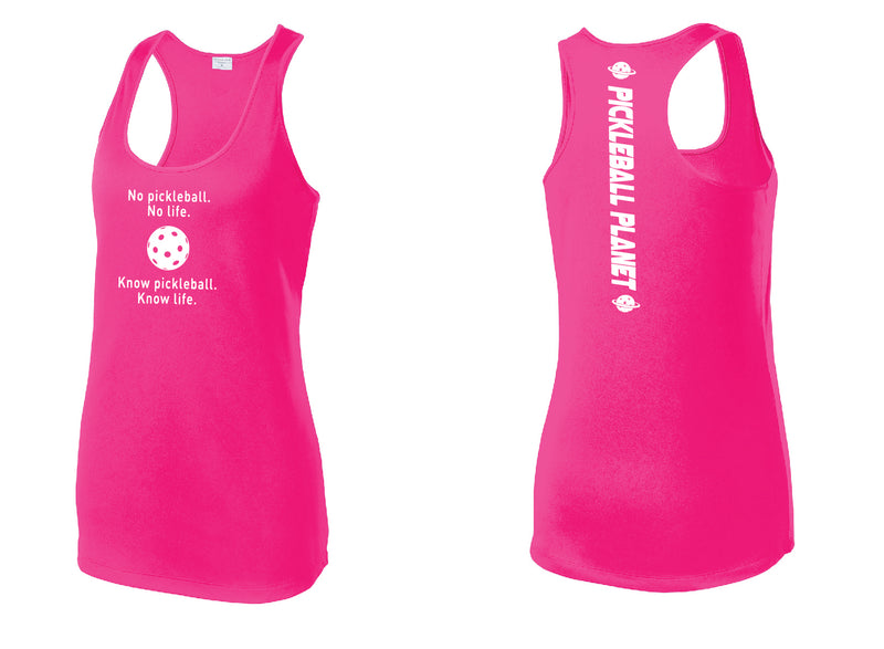 Ladies Racerback Tank Neon Pink Know Pickleball