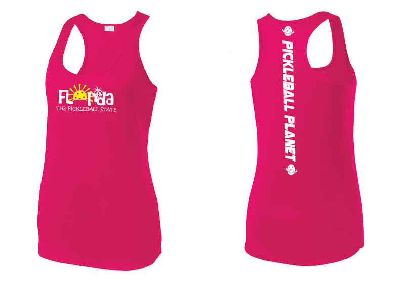 Ladies Racerback Tank Pink Raspberry Florida