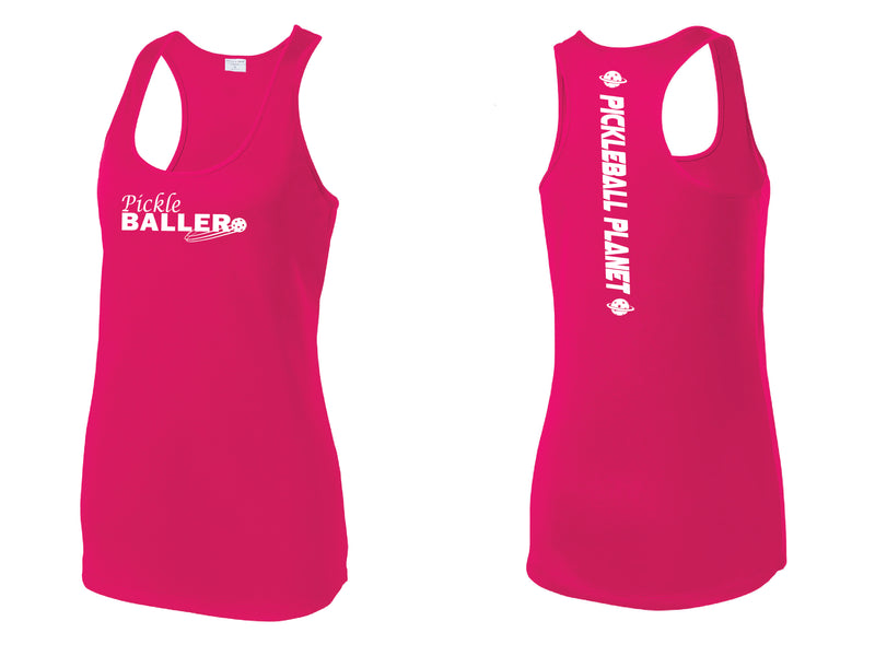 Ladies Racerback Tank Pink Raspberry Pickleballer