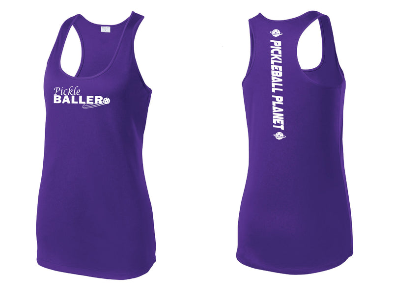 Ladies Racerback Tank Purple Pickleballer