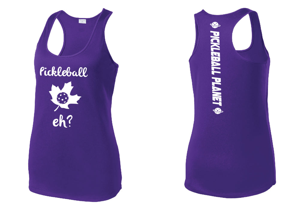 Ladies Racerback Tank Purple Pickleball Eh