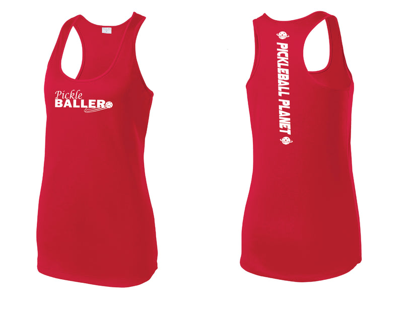 Ladies Racerback Tank Red Pickleballer