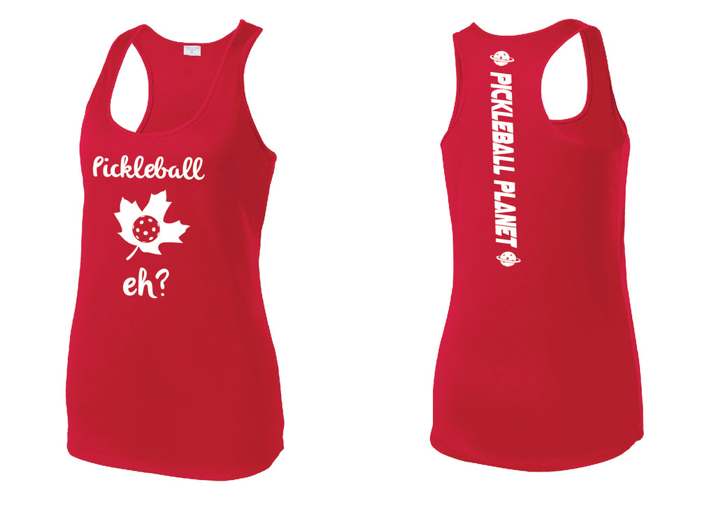 Ladies Racerback Tank Red Pickleball Eh