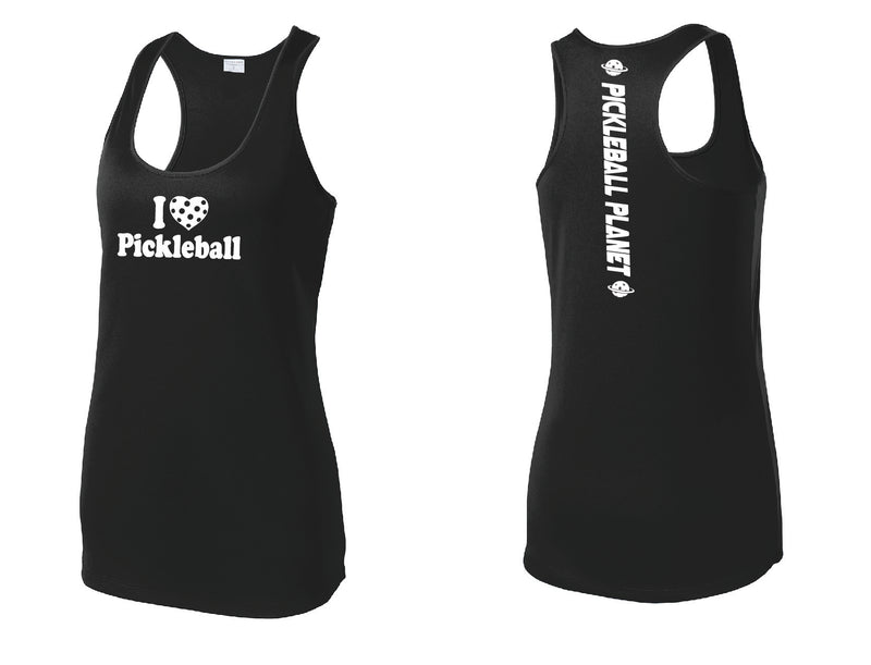 Ladies Racerback Tank Black I Love Pickleball