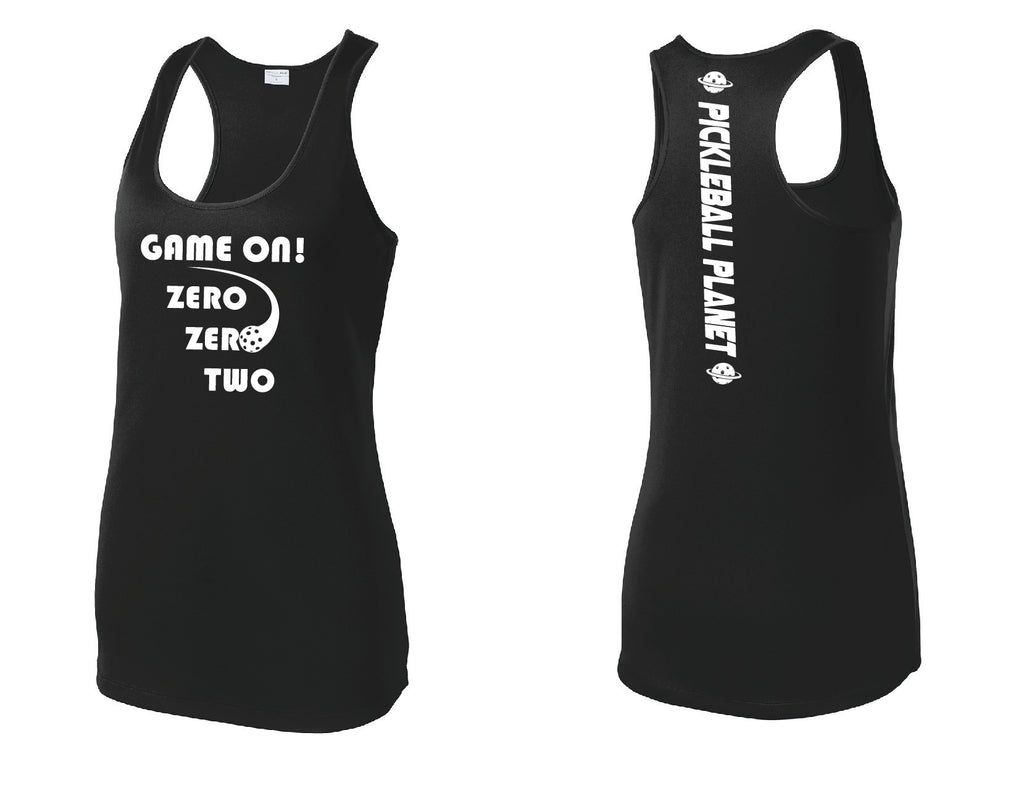 Ladies Racerback Tank Black Game On