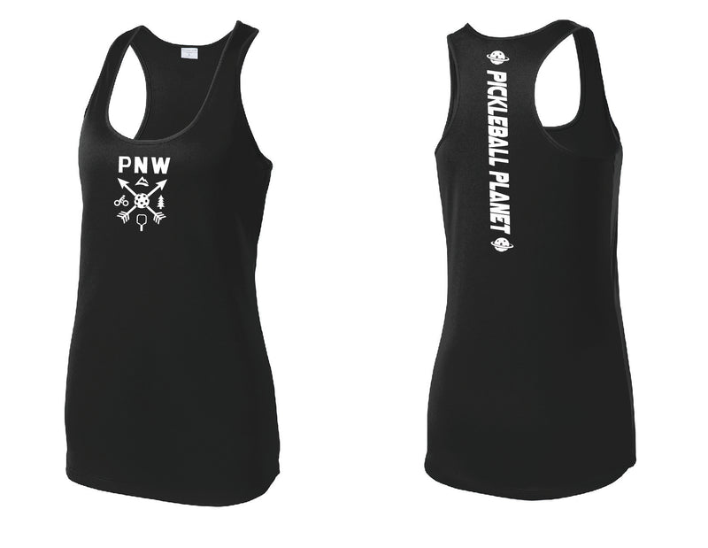 Ladies Racerback Tank Black PNW