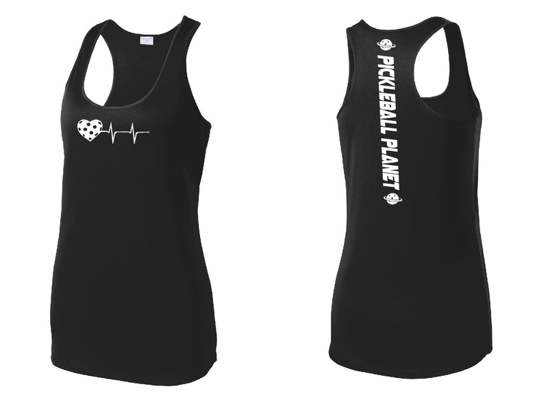 Ladies Racerback Tank Black Heartbeat