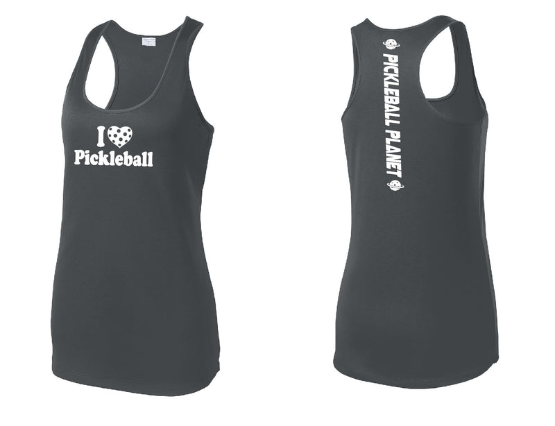 Ladies Racerback Tank Iron Gray I Love Pickleball