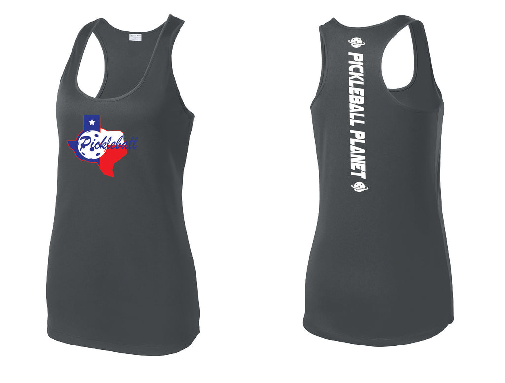 Ladies Racerback Tank Iron Gray Texas State