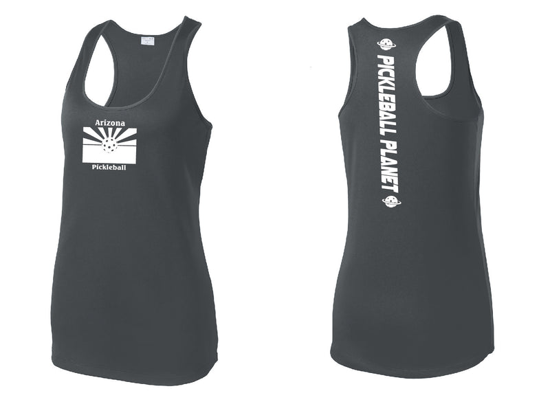 Ladies Racerback Tank Iron Gray Arizona Flag