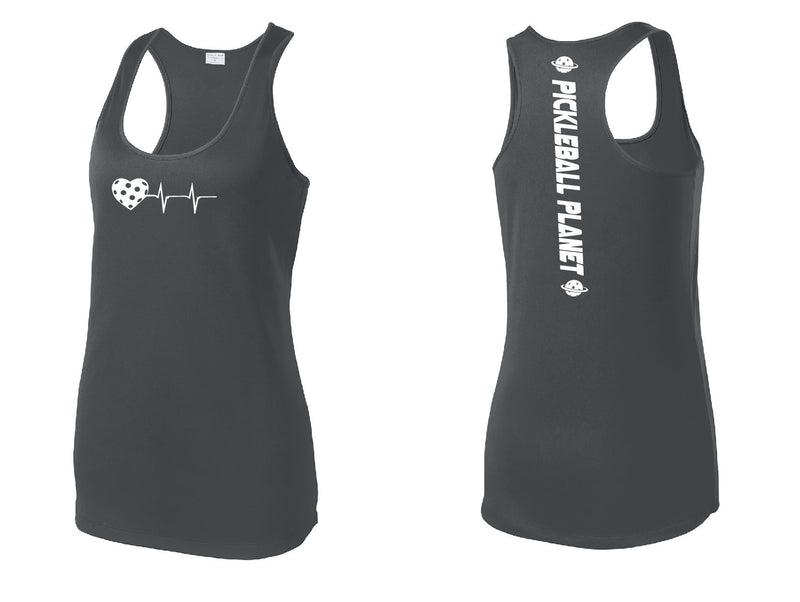 Ladies Racerback Tank Iron Gray Heartbeat