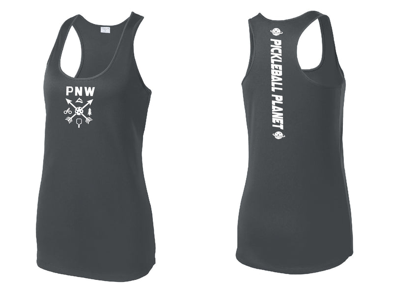 Ladies Racerback Tank Iron Gray PNW