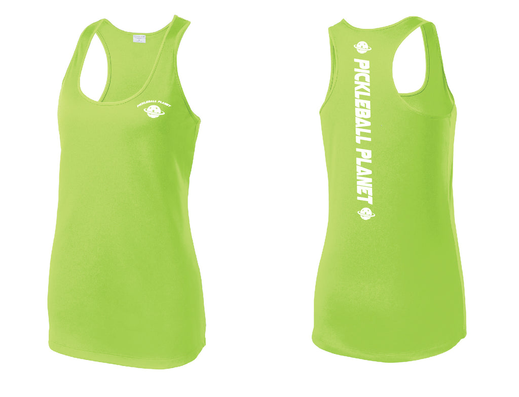 Ladies Racerback Tank Lime Shock Green Pickleball Planet
